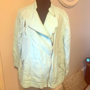 Chico's light blue linen motorcycle jacket 2